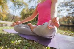 Gezonde Geschikte Vrouw die Yogameditatie in Aard doen royalty-vrije stock foto