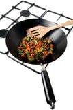 Gezonde groenten in een wok royalty-vrije stock afbeelding