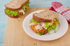Gezonde grote sandwich op de plaat Royalty-vrije Stock Foto