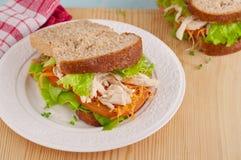 Gezonde grote sandwich op de plaat Royalty-vrije Stock Afbeelding