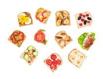 Gezonde heerlijke sandwiches Stock Foto's