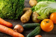 Gezonde het eten achtergrondstudiofotografie van verschillende vruchten en groenten royalty-vrije stock afbeelding