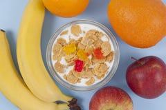 Gezonde het eten ontbijtkom van lage calorieënmuesli met vruchten Royalty-vrije Stock Foto's