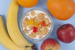 Gezonde het eten ontbijtkom van lage calorieënmuesli met vruchten Stock Fotografie