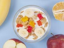 Gezonde het eten ontbijtkom van lage calorieënmuesli met vruchten Stock Foto's