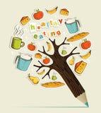 Gezonde het potloodboom van het voedselconcept stock illustratie