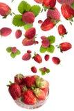 Gezonde kom met vliegende verse aardbeien Royalty-vrije Stock Afbeeldingen