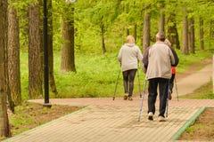 Gezonde Levensstijl Het noordse lopen De volwassen man en twee vrouwen zijn bezig geweest met het atletische lopen stock afbeeldingen