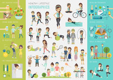 Gezonde levensstijl infographic reeks met grafieken en andere elementen
