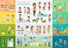Gezonde levensstijl infographic reeks met grafieken en andere elementen stock illustratie