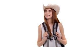Gezonde levensstijlvrouw die wanneer zij naar wandelingsvakantie gaat glimlachen Royalty-vrije Stock Fotografie