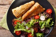 Gezonde lunch: gebraden stokvissen met tomaat, radijs en slasalade royalty-vrije stock afbeelding