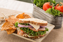 Gezonde Lunch Ham Turkey Swiss Cheese Sandwich met Spaanders Royalty-vrije Stock Foto's