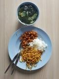 Gezonde lunch, koolhydratenplaat Royalty-vrije Stock Foto