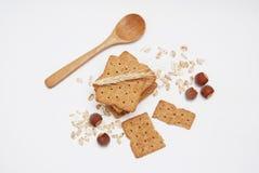 Gezonde Natuurlijke Dieet en Geschiktheids Wholegrain Koekjes Haver en Integrale Snacks royalty-vrije stock fotografie