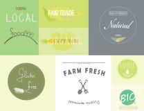 Gezonde natuurvoedingetiketten en emblemen Stock Foto's