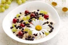 Gezonde ontbijtkwark met verse bessen en thee Stock Afbeeldingen