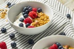 Gezonde Organische Griekse Yoghurt met Granola en Bessen Stock Afbeelding