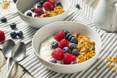 Gezonde Organische Griekse Yoghurt met Granola en Bessen Stock Foto's