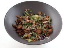 Gezonde plantaardige salade met zalm op grijze moderne die schotel op witte achtergrond wordt geïsoleerd royalty-vrije stock foto