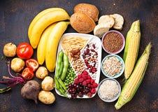 Gezonde productenbronnen van koolhydraten royalty-vrije stock foto's
