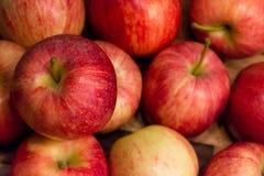 Gezonde rode die appel op de lijst wordt geplaatst Stock Foto