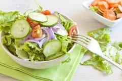 Gezonde Salade met tomaat, ui, komkommer en sla royalty-vrije stock foto's