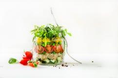 Gezonde saladekruik met quinoa en groenten, kersentomaten, komkommer, ruccola Ruwe vegetarische maaltijd voor dieet, detox Royalty-vrije Stock Afbeelding