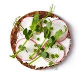 Gezonde sandwich met organisch multikorrelbrood, roomkaas royalty-vrije stock afbeelding
