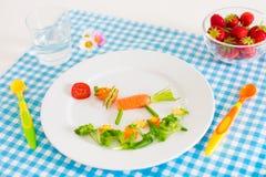 Gezonde vegetarische lunch voor kleine jonge geitjes, vegetabl Royalty-vrije Stock Foto