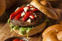 Gezonde Vegetarische Portobello-Paddestoelhamburger stock afbeelding