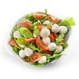 Gezonde verse rucolasalade met mozarella en tomatenplakken Royalty-vrije Stock Fotografie