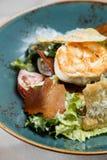 Gezonde Verse salade met kippenborst, tomaten en sla Royalty-vrije Stock Foto's