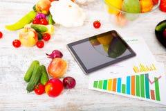 Gezonde voeding en tablet Stock Afbeelding