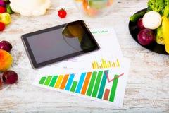 Gezonde voeding en tablet Stock Foto's