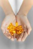Gezonde voeding Van de de leverolie van de kabeljauw omega 3 het gelcapsules voeding Stock Foto's