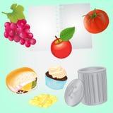 Gezonde voeding voor agenda en Ongezond Voedsel voor Vuilnisbak Stock Foto's