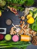 Gezonde voedsel schone het eten selectie of het Super concept van het voedsel vegetarische voedsel royalty-vrije stock foto's