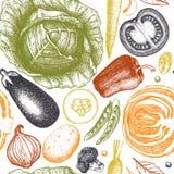 Gezonde voedsel vectorachtergrond met schets van inkt de hand getrokken groenten Uitstekend naadloos patroon met verse producten  vector illustratie