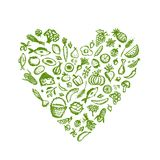 Gezonde voedselachtergrond, de schets van de hartvorm voor vector illustratie