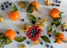 Gezonde voedselachtergrond met bessenbosbes, framboos en citrusvruchten royalty-vrije stock afbeeldingen