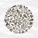 Gezonde voedselachtergrond, schets voor uw ontwerp royalty-vrije illustratie