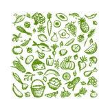 Gezonde voedselachtergrond, schets voor uw ontwerp stock illustratie