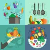 Gezonde Voedselbanners vector illustratie