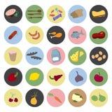 Gezonde voedselpictogrammen Royalty-vrije Stock Foto's