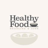 Gezonde voedseltypografie en illustratie Stock Afbeeldingen