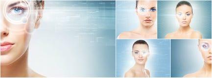 Gezonde vrouwen met een laserhologram op ogen royalty-vrije stock afbeelding