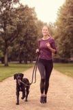 Gezonde Vrouwenjogging in het Park met haar Hond stock fotografie