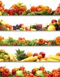 Gezonde vruchten en groenten die op wit worden geïsoleerde Stock Foto