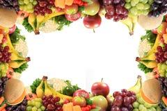 Gezonde vruchten en groentengrens of frame Stock Foto's